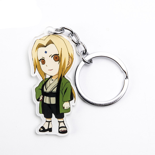 Anime Figure Tsunade Keychains For Women Men Cute Naruto Acrylic Pendant Key Chains Key Ring For Key Ninja Fan Kids Gift Trinket