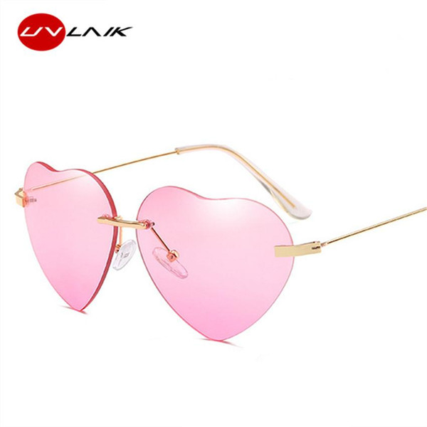 UVLAIK Heart-shaped Sunglasses Women Lolita Rimless Frame Sun Glasses Clear Transparent Eyeglasses Love Heart Frameless Eyewear