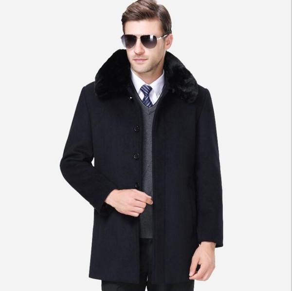 Langer Abschnitt Einreiher Kleidung mit Pelzkragen Winter Herren wollmantel dicken schwarzen Mantel Black Coffee samt Wolle Trenchcoat