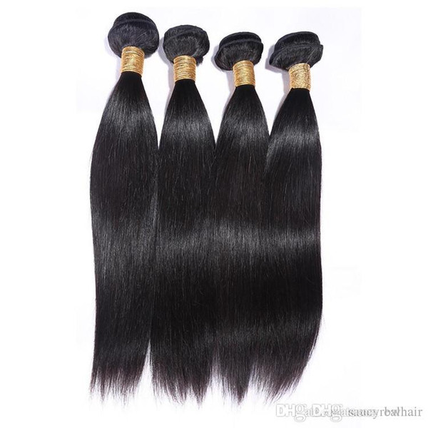Elibess Brand-100% Human Silk straight wave Human Hair Bundles Double Weft Unprocessed Virgin Hair Extension, 3 pcs Lot