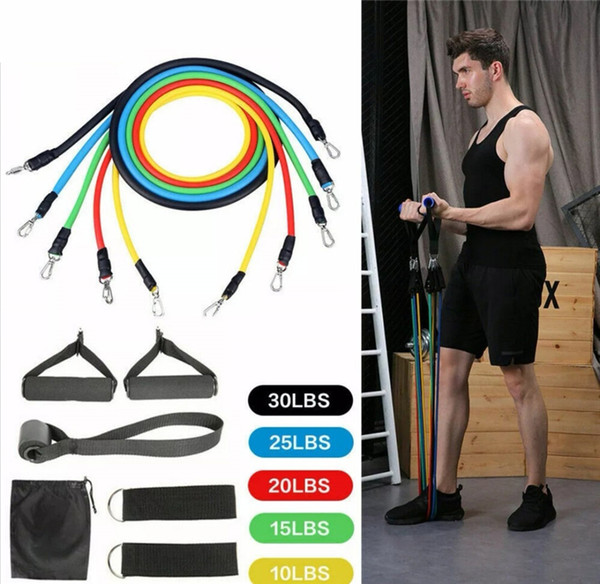 best selling 11pcs Set Natural Rubber Latex Fitness Resistance Bands for Full Body Exercise Tubes Practical Elastic Training Rope Yoga Pull Rope Pilates