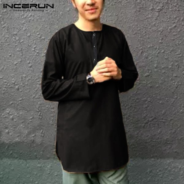 Button Tops Shirt Loose Long sleeves Solid Casual Men Male Retro Muslim Islamic