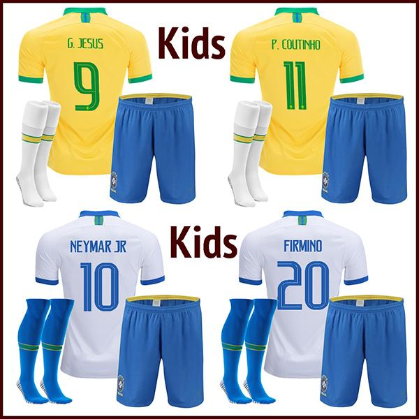 top popular 2019 kids soccer jersey 19 20 child JESUS COUTINHO FIRMINO Camiseta de futbol DANI ALVES MARCELO PAULINHO football shirt 2020
