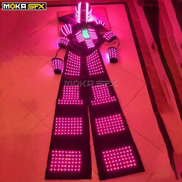 Terno do robô LEVOU iluminado led robô traje de iluminação trajes luminosos levou roupas traje de dança stage show DJ roupas