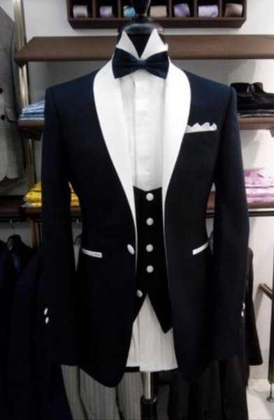 Elegant Black Tuxedos Formal Groom Wedding Suits For Men White Shawl Lapel Slim Fit Best Man Party Prom Blazer With Black Pants