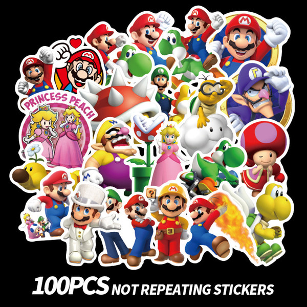 100 unids / set Anime Game Mario Cartoon Graffiti Sticker Impermeable Maleta DIY Portátil Guitarra Monopatín Juguete Adorable Pegatinas B11
