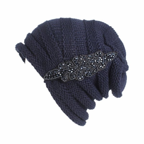 Ladies'wrinkled wool cap temperament autumn and winter bead-tipped drill head scarf cap recreational outdoor comfortable breathable