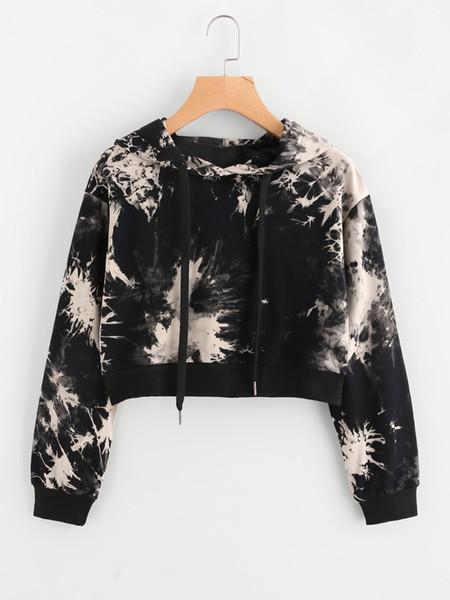 Hip Hop Short Women Hoodies Teenage Girls Cool Printing Black Crop Top Streetwear Girl Daughter's Hoodie Sweatshirt