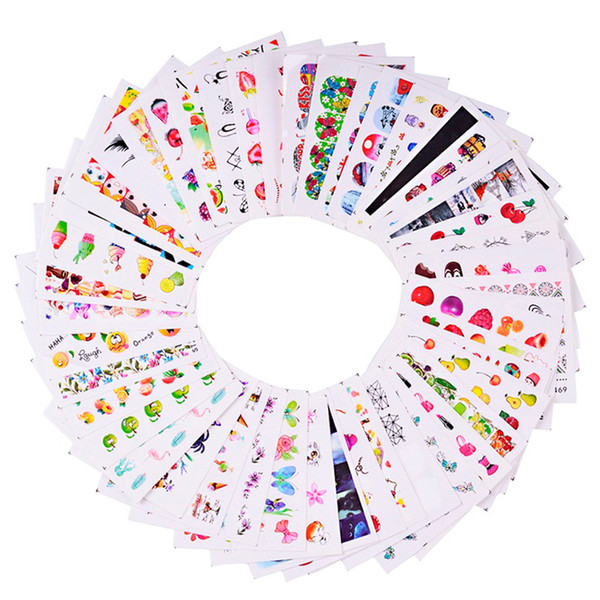 40 pcs misturado imagem colorida adesivo de unhas frutas / bolo / colar / borboleta diy bonito slider manicure decalques de água set trstz455-512 d18120801