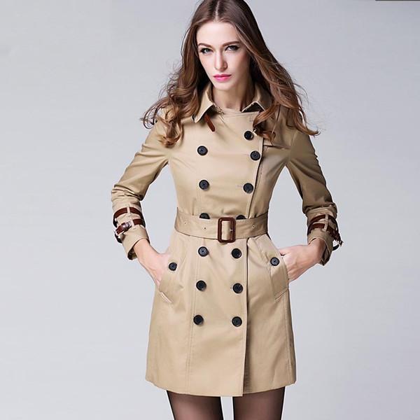 Nova Marca de Moda das mulheres Casaco Estilo Europeu e Americano Magro Médio-Longo Trench Coat Mulheres Sólida Primavera Outono Outerwear Casacos b9266