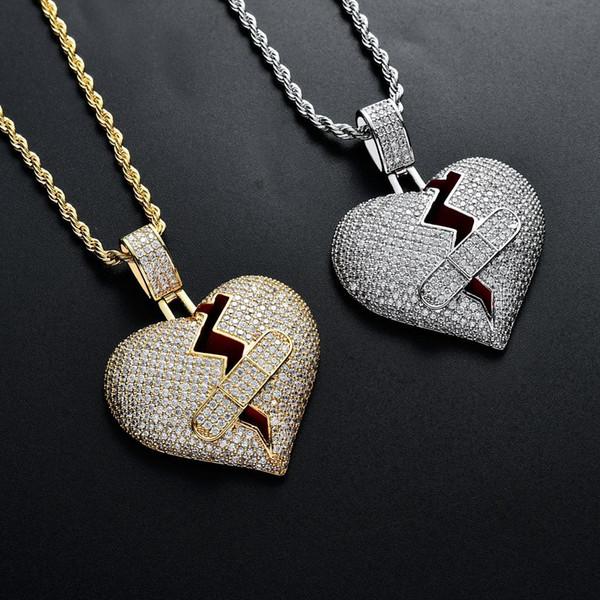 Luxus designer gold diamant liebhaber vereist band aid gebrochenes herz choker erste halskette armbänder zirkonia schmuck für männer frauen