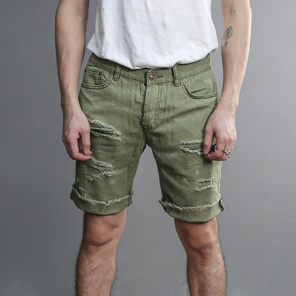 Trench rose foncé mode hommes trous déchirés bouton Jeans Casual hommes été Slim Brand Design Jeans Shorts Nouvelle arrivée K877