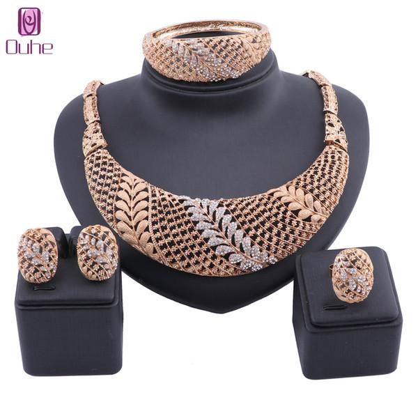 Dubai Gold Color Jewelry Sets Wholesale Big Nigerian Wedding Woman Leaves Crystal Jewelry  statement Set