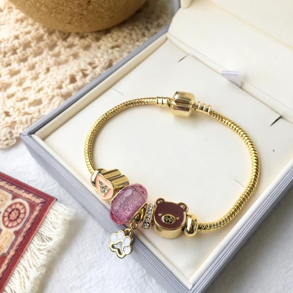 Высокое качество нержавеющей стали 316L позолоченный розовый опал камень сердце медведь браслеты для женщин новое поступление горячий продавать роскошные ювелирные изделия
