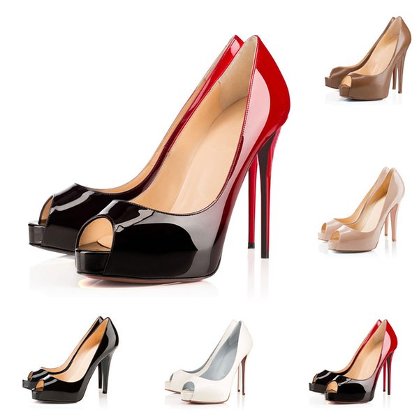 2019 Designer High Heels Patent Leather Pointed Toe Women Pumps Red Bottoms 12CM 14CM Wedding Dress Shoes Dance Party 35-42 Fish Mouth heels