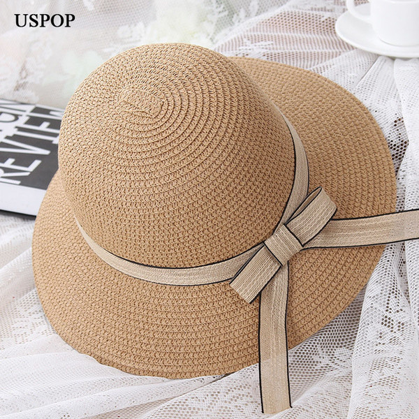 wholesale 2018 HOT fashion woman summer hats female straw hat casual mom-kid wide brim beach hat Cute children bowknot sun hats