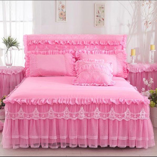 Bettbezug Bett Rock Kissenbezüge Rosa Romantische Hochzeit Rüschen Bettbezug Prinzessin Bettdecken Bettlaken König Königin Twin Size Heimtextilien