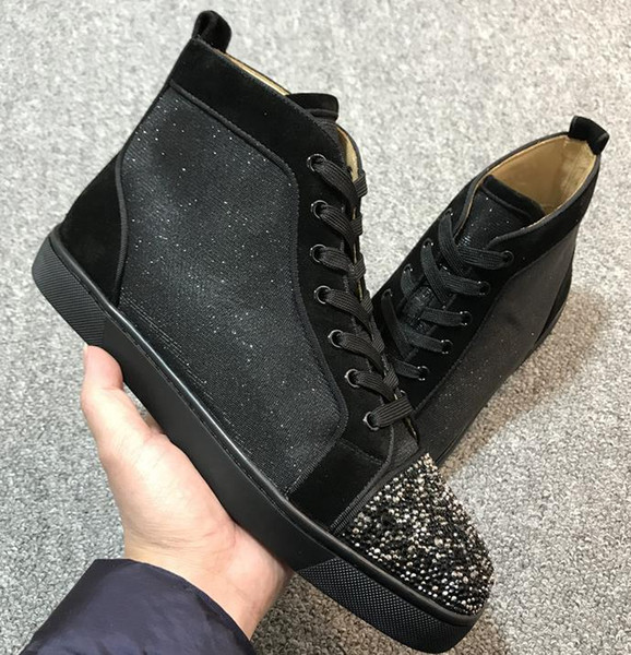 2019 Diseñador de moda Red Bottoms shoes Spike Studded Zapatillas planas para hombres Mujeres glitter Party Lovers Genuine Leather casual Sneaker v152