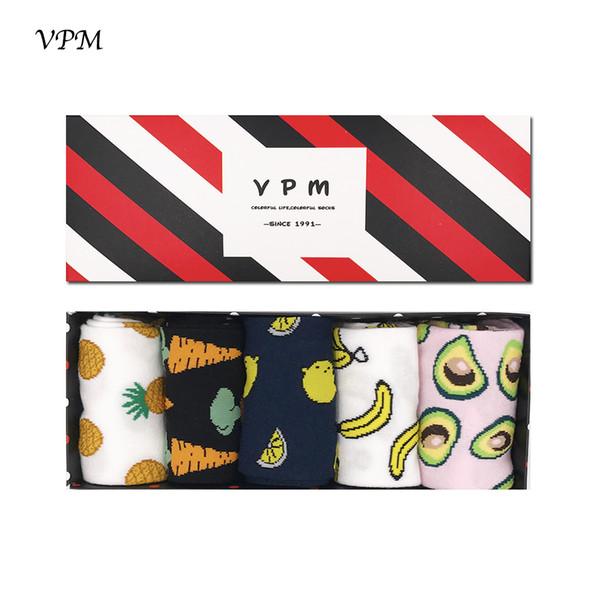 Vpm Gift Box Winter Autumn Warm Women Socks Colorful Cartoon Cute Food Milk Fruits Lovely Funny Socks (5 Pairs / Lot ) Q190429