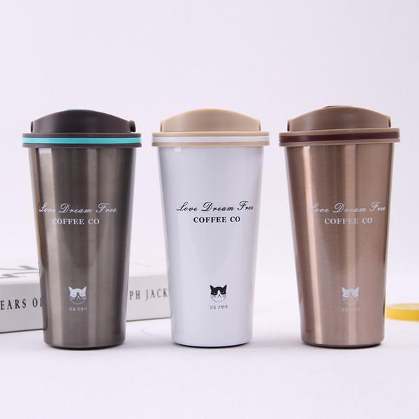 Tasse à café 500ML Thermos tasse avec couvercle joint en acier inoxydable double paroi flacons à vide Thermoses Thermo tasse pour voiture bouteille d'eau LJJA2431