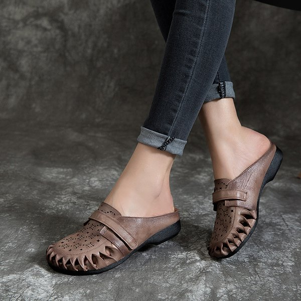 8b86292125db3 2019 Women Summer Genuine Leather Flower Low Flat Heel Shoes Female Sandals  Handmade Slippers Slides S55218 Grey Boots Boots Shoes From Dirtegg, ...