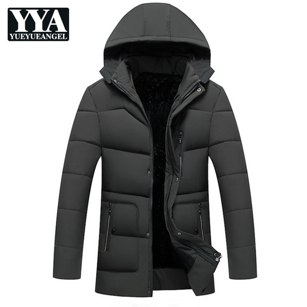 2018 New Winter Fleece Lining Long Jacket Male Casual Thick Warm Down Jacket Streetwear Loose Fit Hooded Parka Coats L-4XL