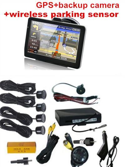 3 em 1 @ 7 polegadas GPS câmera traseira reversa sistema de sensor de estacionamento sem fio, GPS av in + bluetooth + fm, sensor de estacionamento vídeo carro sem fio