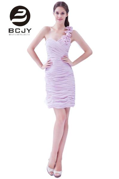 2019 Venda quente simples violeta Chiffon Bainha Short Vestidos dama mais curtos Meninas de partido Prom Vestidos Querida Pleat