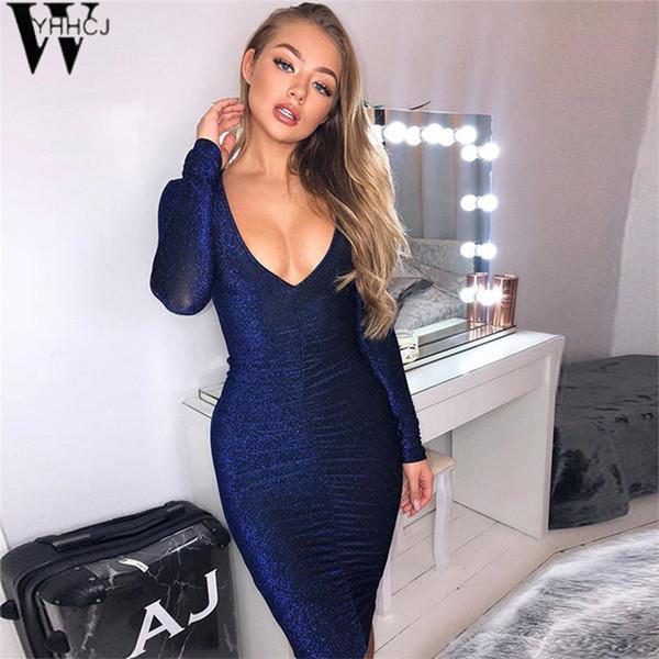 WYHHCJ 2018 Sexy Sheer Glitter Paillettes Robes De Soirée Femmes Night Club Sortant Robe Brillante Profonde V Sparkly Robe Moulante