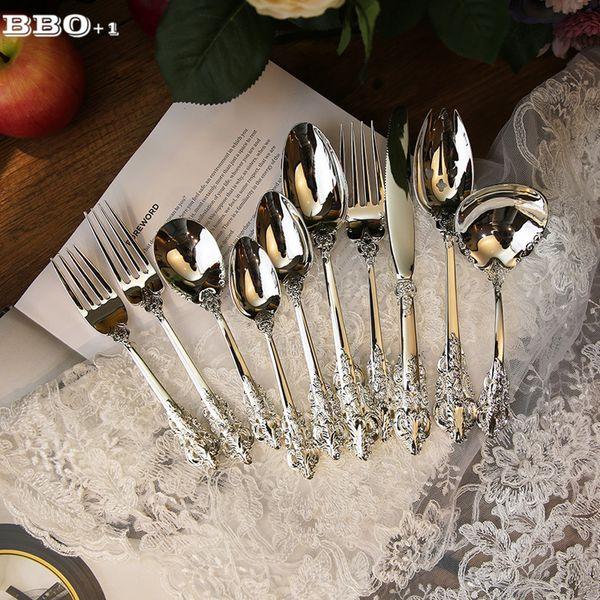 1 Adet Lüks Batı Gümüş Çatal Gümüş Sofra Seti Akşam Steak Bıçak Çatal Kahve çay kaşığı Mutfak Çatal bulaşığı C18112701