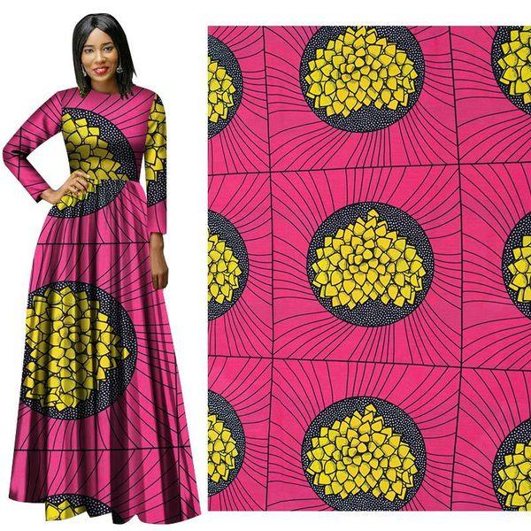 Fashion African Wax Print Fabric new soft cotton deep pink and yellow Fabric Ankara African Batik Fabric