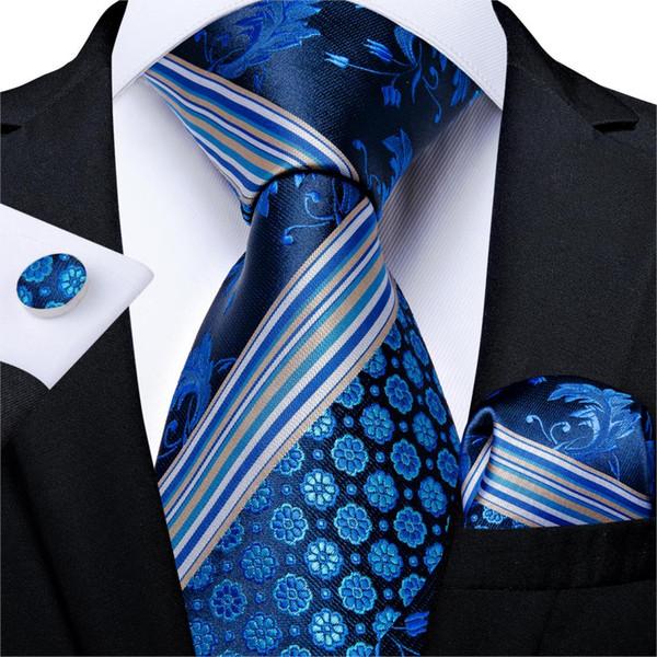 Men Tie Navy Blue White Striped Quality Wedding Tie For Men Hanky Cufflink Silk Set DiBanGu Novelty Design Business MJ-7311