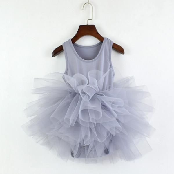2019 Summer Girls pizzo tulle tutu dress INS bambini tiered pizzo tulle balletto danza vestito bambini colletto tondo senza maniche vestito dalla principessa F4928