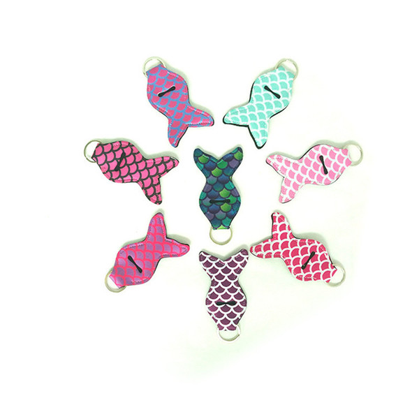 Mermaid Lilly Anahtarlık Neopren Anahtarlık Chapstick Tutucu Anahtarlıklar Ruj Kapak Mermaid Balık Tasarım Anahtarlık Dudak Balsamı Anahtarlık Hediyeler
