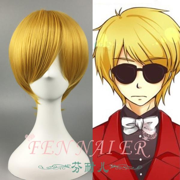 Golden yellow men's short straight hair black basketball Huang Hao cool too fake hair spot cosplay wig