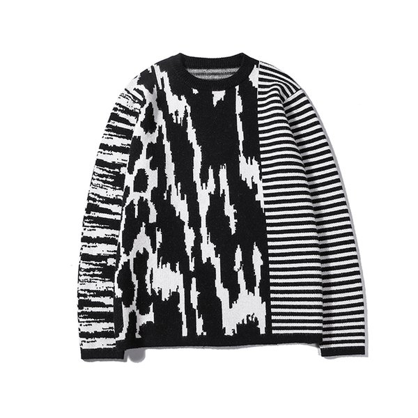 best selling 2019 Latest zebra stripes Winter Casual Sweater Brand Clothing Long Sleeve Mens Sweaters classic Shirt Pullover O-Neck Knitwear