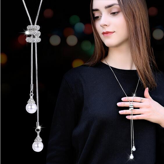 Simulado Perla de Cristal Suéter Largo Cadena de Círculos Collar Vintage Accessary Crystal Collares Declaración Joyas GA736