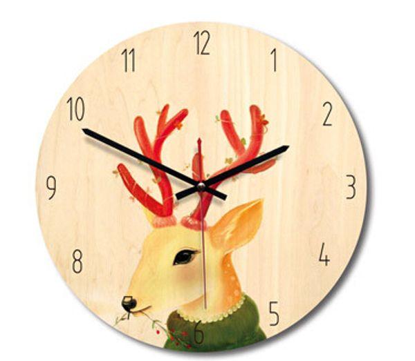 Northern Europe Wooden Wall Clock Cartoon Animal Wall Clocks New Style Creative Cat Reindeer Painted Clocks