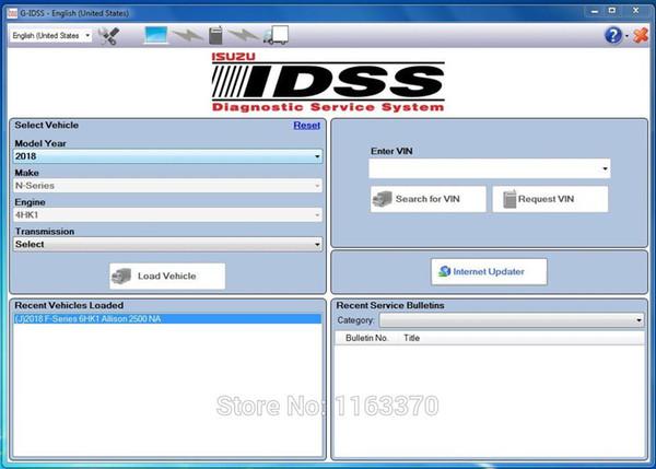 Para Isuzu G-IDSS Export 2018 - Trabalho do Sistema de Serviços de Diagnóstico Isuzu com adaptador DPA5