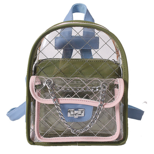 Famous Brand 2018 Summer Designer Backpacks Luxury Transparent Bag Fashion Quilted Women Backpack Girl Cute Student