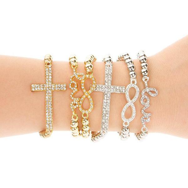 Classique Amour Croix Infini Charme Bracelets Femmes Style De La Mode Or Strass Amour Bracelet Jonc Bracelet Bijoux Amour Élasticité bracelet W