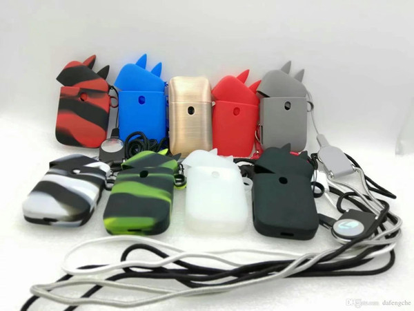 Colorful silicon cartoon case with lanyard for ZERO 2 Aurora Play Vape Mod bag string necklace case DHL Free