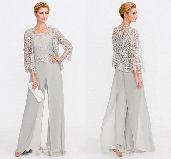 Gelin Modelleri İki adet Dantel Ceketler Anneler Elbise Grey Anne Düğün Olaylar Pantolonlar için Akşam Elbise BC005 Suit En Yeni