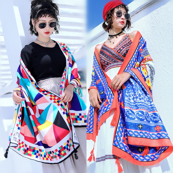 Women Large Shawls silk Scarf Retro Ethnic Style Beach Towel with Tassel Spring Summer Cotton Linen Sunscreen Scarve travel Table Home Decor