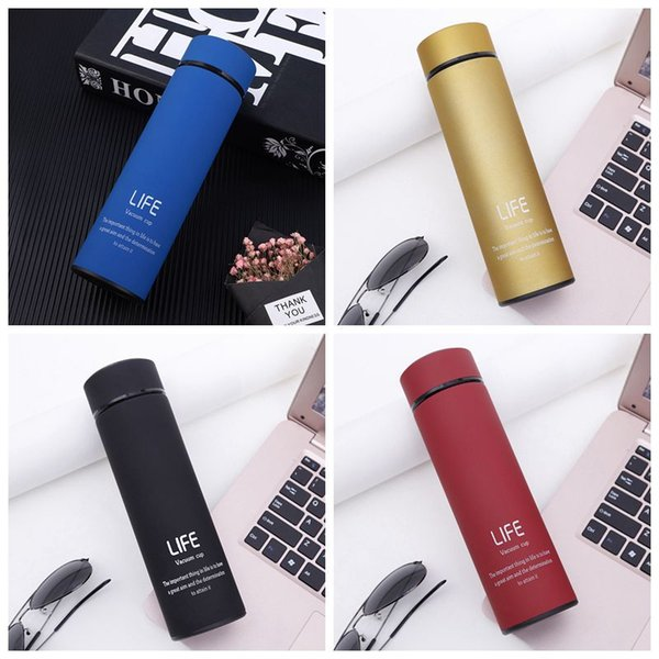 Wholesale 304 Stainless Steel Water Bottle 500ML Long Bottle Solid Letter Print Mug Vacuum Thermal Insulation Water Cup DBC DH0574