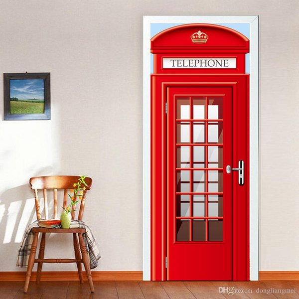 European telephone booth Door wall Sticker Graphic Unique Mural Cosplay Gifts for living room home decoration Creative Pvc Decal paper WN643