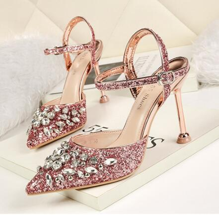 Wedding Women Shoes High Heels Rhinestone Sequin Buckle Pointed Head Shallow Mouth Bridal Shoes Six Colors Optional