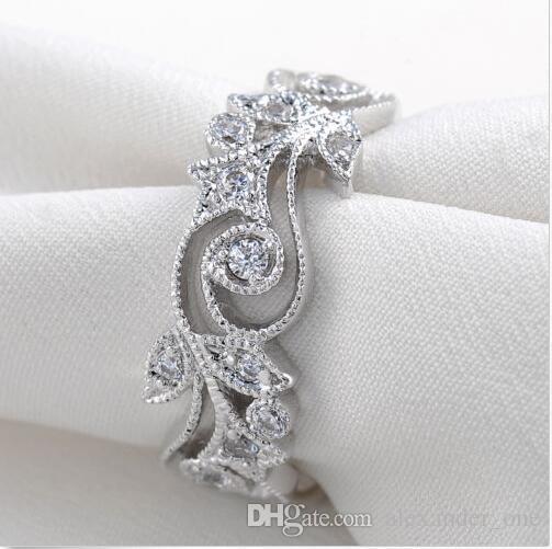 Mode blume wind 925 Sterling Silber Ring Simuliert Diamant Zirkon Fingerringe Hochzeit Band Schmuck Für Frauen Größe 5,6,7,8,9,10