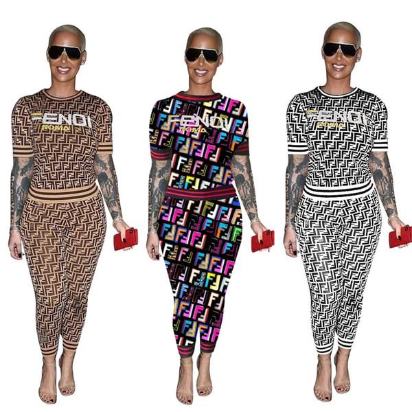 top popular Free Ship Women Fashion Letter Print Tracksuit Casual Crew Neck T-Shirt+Pants Two Piece Set Lady Outfits 3XL Plus 2019