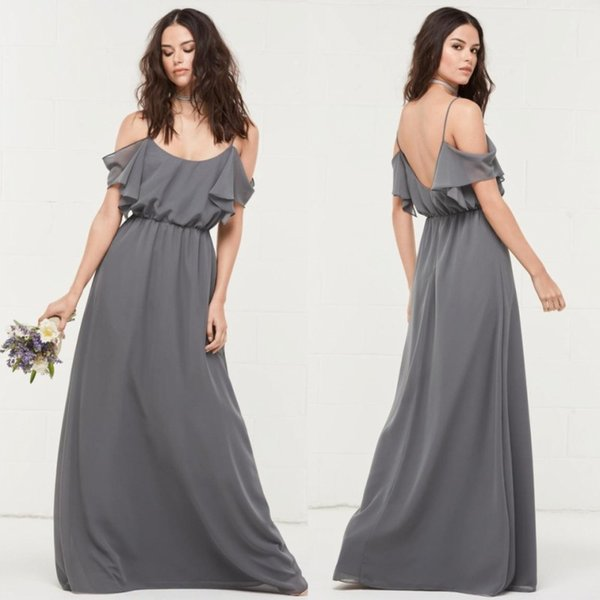 Gray A Line Backless Bridesmaid Dresses Off Shoulder Spaghetti Straps Plus  Size Wedding Guest Dress Floor Length Chiffon Maid Of Honor Gowns Cheap ...